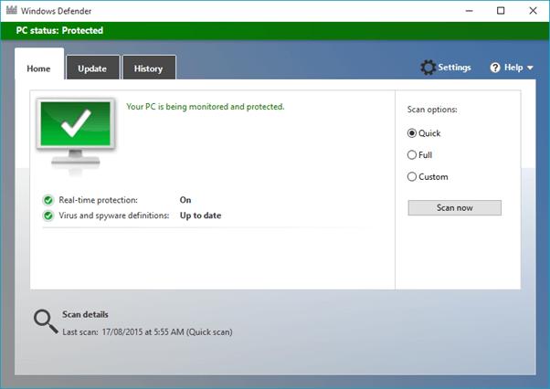 A screen shot of Windows Defender