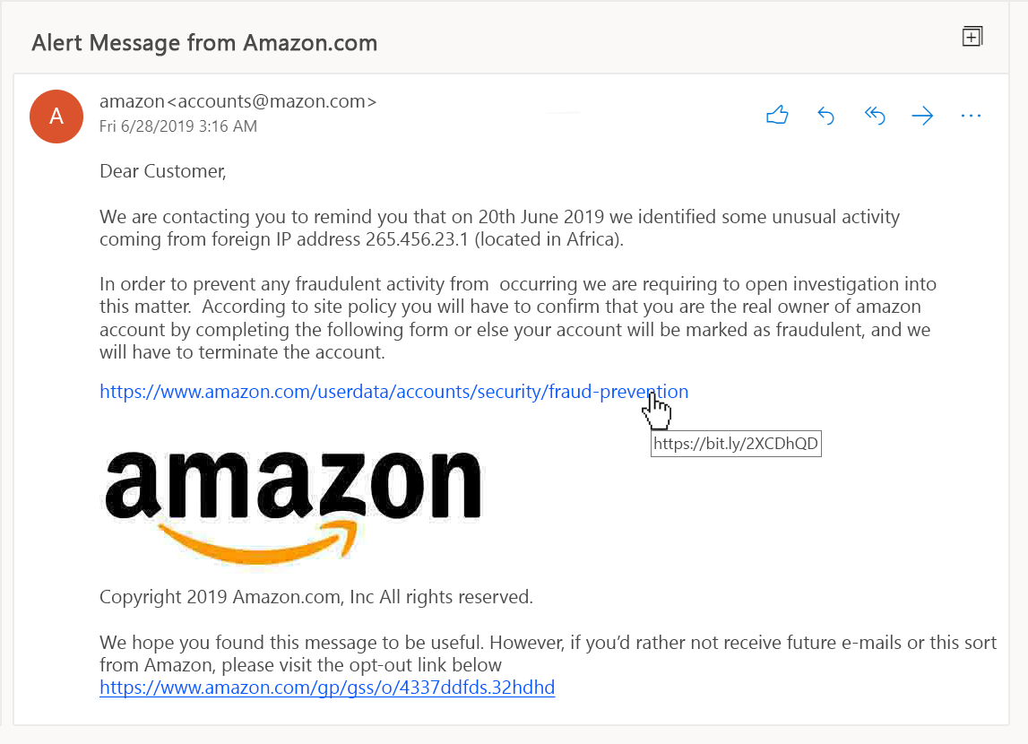 Amazon Fake Email